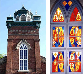Collage of 1851 window coloured glass